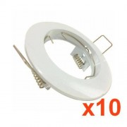 Silamp Support Spot GU10 LED Rond BLANC (Pack de 10)