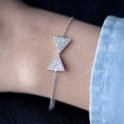 Elise et moi Armband mit Schleife aus 925er Silber mit Zirkonia