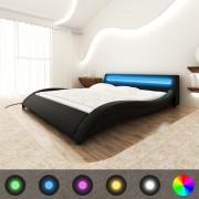 Sonata Рамка за легло с LED, черна, изкуствена кожа, 140x200 cм