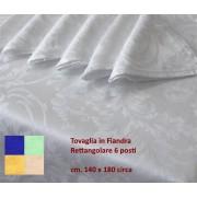 Tovaglia Rettangolare 6 Posti 140x180 Fiandra cotone tovaglioli tinta unita