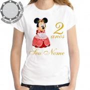 Camiseta Minnie Mouse Realeza Princesa Idades