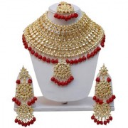 Lucky Jewellery Bridal Maroon Color Gold Plating Kundan And Pearl Stone Necklace Set For Girls Women