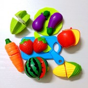10pcs Pretend Play Cutting Fruit Toy Set Simulation Fruits Vegetables Food Toy Set Kitchen Toys for Kids