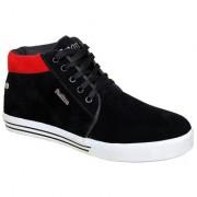 Sukun Mens Black & Red Smart Casuals Shoes
