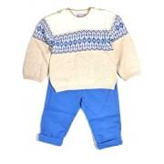 Compleu 2 piese, pulover cu model/pantalon captusit, Mayoral 12luni