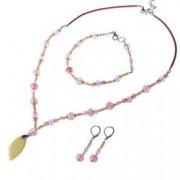 Set bijuterii GANELLI- colier bratara cercei din pietre semipretioase Jad Serpentin Cuart cherry