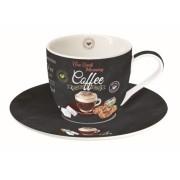 Porcelán cappucinós csésze aljjal 250ml, dobozban, It's Coffee Time Brown