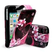 Apple iPhone 4S/4 Love Heard Flip Калъф + Протектор