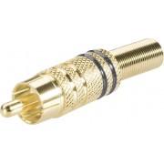 Mufa RCA, Ø cablu 6 mm, cu protectie la indoire si inele colorate, suprafata aurita, negru