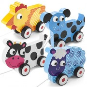 Push-n-Pull 4-Pack Swirly Sheep Spotted Cow Plaid Hen and Dalmatian Puppy by Imagination Generation