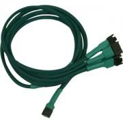Cablu adaptor Nanoxia 3-pini Fan la 4x 3-pini, 60cm, green/black