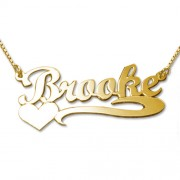 Personalized Men's Jewelry 18K Gold Plated Heart Name Necklace 101-01-067-08