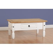 Corona 1 Drawer Coffee Table - White/Distressed Waxed Pine
