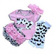 Reborn Baby Doll Clothes Outfit for 20-23 Inch Reborns Newborn Babies Matching Clothing Pink Dairy Cow Four-Piece Set by NPK collection
