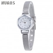 Quartz Watch Women Small Round Dial Stainless Steel Woven Mesh Band Simple Casual Ladies Wrist Watches Relogio Feminino A8302