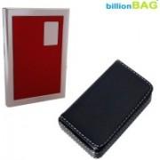 Billionbag New Steel Red Leather Stainless ATM & Soft Black Leather Metal Business Visiting 6 Card Holder(Set of 2, Multicolor)
