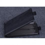 Кожен калъф с вертикално отваряне за Lenovo A536 - черен