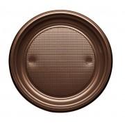 Plato de Plastico PS Llano Chocolate Ø170mm (50 Uds)