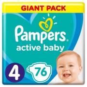 Pampers pelene Active Baby 4 Maxi, 76 kom