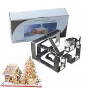 7 Stks Rvs Cookie Cutter Set 3D Peperkoek Huis Schimmel DIY Biscuit Mold Pastry Bakken Tools Kitstorm