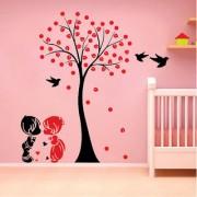 EJA Art Acacia Tree cute couple kids Wall Sticker (Material - PVC) (Pec - 1) With Free Set of 12 pec butterflies sticker