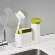 Sink Organizer Sink Stand Cutlery Drainer Brush And Sponge Keeper Self Draining Sink Tidy with Suction Cup Organizer