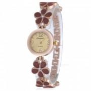 Chaoyada 1132 Rhinestone Pulsera Mujeres Elegante Reloj De Cuarzo - Marron