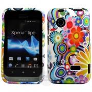 Sony Xperia tipo ST21i Blue Flora Калъф + Скрийн Протектор