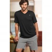 Pijama Masculino Adulto com Camiseta Preta e Bermuda Listrada em Modal