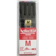 OHP Permanent marker ARTLINE 854, varf mediu - 1.0mm, 4 culori/set - (BK,RE,BL,GR)