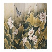Chinees Kamerscherm 4 Panelen Lotuspond met Vogels Vintage