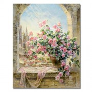 without frame, flower-101: Paint by Numbers, DIY Oil Painting Flowers On Windowsill Canvas Print Wall Art Home Decoration Without Frame by Rihe