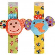 Kuhu Creations Cute Stylish Soft Baby Rattles.(2 Units Style E Animal Multicolor 2 Wrist Rattle)