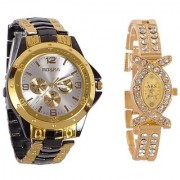 Rosra GoldenBlack And Aks Golden Collection Fancy Couple Analog Watches For Men And Women 6 month wrntyar