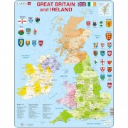 Puzzle Harta Politica a Marii Britanii si a Irlandei Larsen, 48 piese