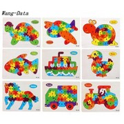 9 PCS Wang-Data Wooden Jigsaw PuzzlesToys for Preschool English Letters Educational Toys For Toddlers /Kids/ Children /Boys/ Girls (3 4 5 Year Old and Up)