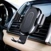 Suport Auto Rotativ cu Incarcare Wireless Qi iPhone Samsung Negru