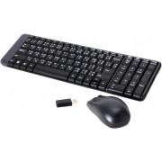 Tipkovnica + miš Logitech MK220 Wireless Desktop, bežična, crna, kompaktna, USB