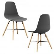 Елегантен стол Eindhoven комплект от 2 броя, дървени крака 85,5 x 46 cm Сив