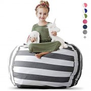 """Creative Extra Large Stuff 'n Sit Stuffed Animal Storage Bean Bag Chair for Kids Pouf Ottoman for Toy Storage Available in 2 Sizes and 5 Patterns (38"""", Grey/White Stripe)"""