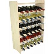 Wijnrek - 91,5x63x26,5 cm (LxBxD)- Massief Hout - 36 Flessen met plank -Flessenrek Modulair en Stapelbaar - Flessenhouder Staand