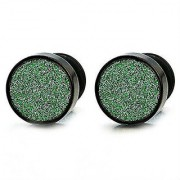 Mens Screw Stud Earrings with Round Green Glitter Stainless Steel Barbell w/ O Ring