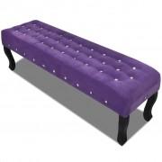 vidaXL Fialová lavice ze sametové látky Krystalové knoflíky