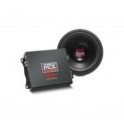 "Paquete MTX Audio Amplificador Monoblock + Subwoofer De 10"" Road Thunder"