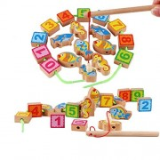 iPuzzle Educational 2 in 1 Wooden Magnetic Number & Fish Beads String & Fishing Gift Set for Kids