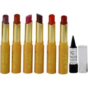 ADS Glossy Shine Lipstick Pack of 6 And Free Kajal-GPTGP-A1