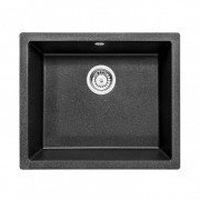 CORDA FLUSH Gránit mosogató, 1 medence, metál fekete, 550 x 460 mm