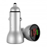 ORICO UPF-K2 30W Dual-USB Fast Car Charger with LED Display for iPhone Samsung Huawei etc. - Silver