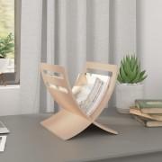 vidaXL Дървена стойка за списания, цвят натурално дърво