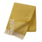 Klippan Yllefabrik Leaf premium ullpläd yellow, klippan yllefabrik